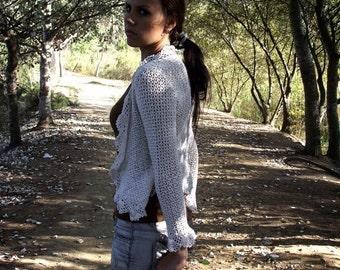 SALE Crochet shirt Crochet blouse Crochet top Ivory lace crochet top