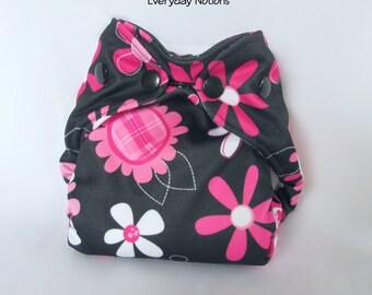Newborn AIO Cloth Diaper - Pink Floral on Black