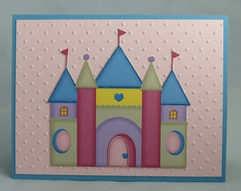 Stampin Up Handmade Greeting Card: Princess Birthday Card, Little Girl, Daughter, Granddaughter, Niece, Castle, Disney Pink Party Invitation