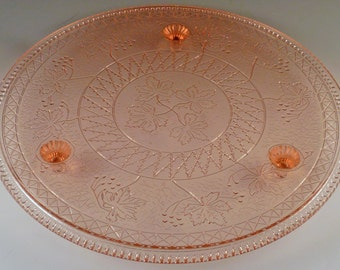 Pink Depression Glass Cake Plate Maple Leaf US Glass Footed Hard to Find Beautiful Glassware Vintage Authentic Excellent Condition