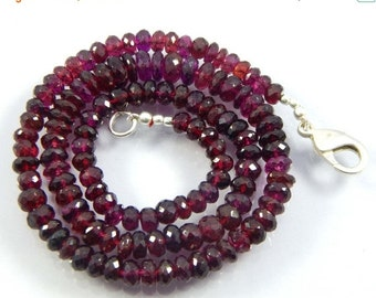 "on sale 25% shop SALE AAA Garnet Beads, 5-8 mm Rondelles, Garnet faceted Rondelles, Red Gemstone Beads, January Birthstone 206.60 ct 18"" nec"
