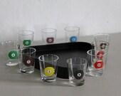Vintage Shot Glasses, Pool Ball Shot Glasses, Billiard Shot Glasses, Liquor Glasses.  Man Cave