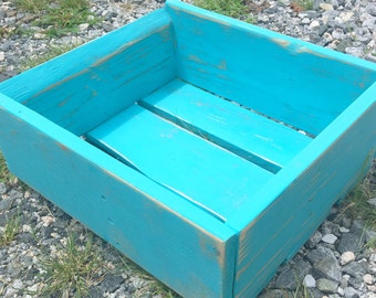 Reclaimed Wood Crate- Distressed Caribbean Blue