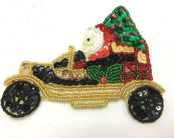 """Santa Driving a Black Car with Christmas Packages, Sequin Beaded4.75"""" x 3.5  - JJ-X501CS-box14a"""