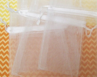 "12 White Sheer Organza Bags 3"" x 4"""