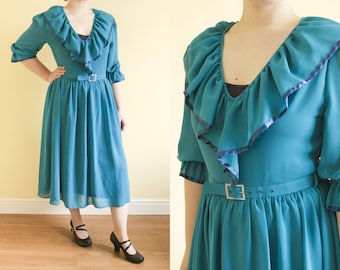 70s Vintage Dress • Teal Turquoise Dress • Gypsy Dress • Evening Dress • Party Dress • Fortune Teller • Dress With Sleeves • Midi Dress. S/M