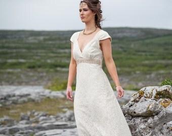 Rustic Wedding Dress, custom made, Celtic Wedding Dress, Celtic Wedding Dress, Woodland Dress, Rustic Bride, Folk Bride, nature bride