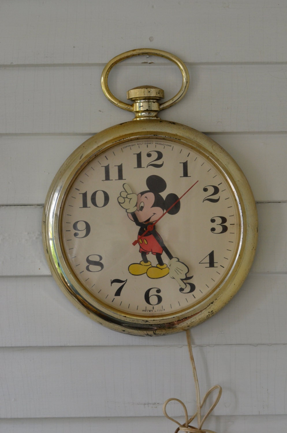 Mickey Mouse Welby By Elgin Wall Clock Pocket Watch Style