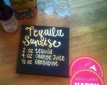 Tequila Sunrise Bar Cart Canvas