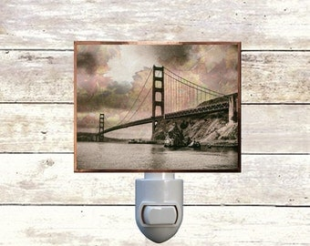 San Francisco Art-golden gate bridge-night lights-lighting-copper foiled-handmade-California-unique gifts-bay area-west coast-art