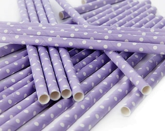 Lilac and White Tiny Dot Paper Straws