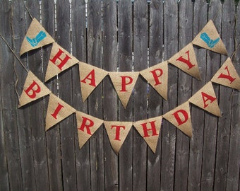Cowboy Boots WESTERN HAPPY BIRTHDAY Burlap Banner Party Sign Bunting Garland