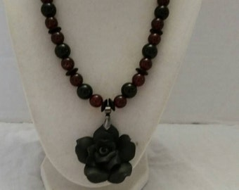 Gothic Necklace Concert Necklace Black Necklace Red Necklace Black and Red Necklace Red and Black Necklace Flower Necklace Black Flower