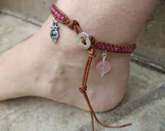 Pink Owl Moon Anklet Bohemian Leather Ankle Bracelet Free US Shipping