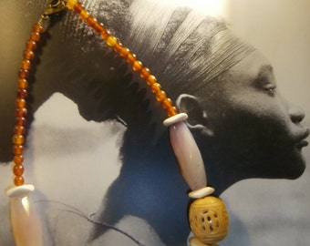"""necklace """"Out Of Africa"""" ethnic spirit, African beads in Horn OOAK"""