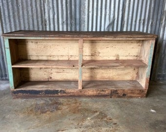 Vintage Wood Store Counter / Double Sided Store Counter / Vintage Advertisement / Kitchen Island
