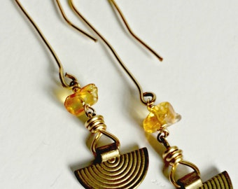 Long-wired Amber Drop Earring