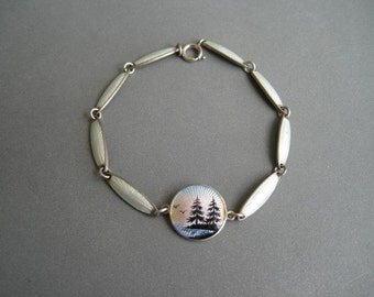 Lovely old vintage sterling silver and enamel bracelet, Norway, 1920s