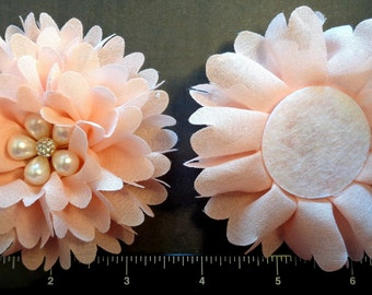 "1 Each 4"" Coral Ballerina Fabric Flower with a Faux Pearl and Rhinestone Center - Hair Bow Embellishment"