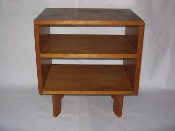 Mid Century Modern Nightstand Plans: Mid Century Modern Night Stand Table Wavy Legs Open Back Maple