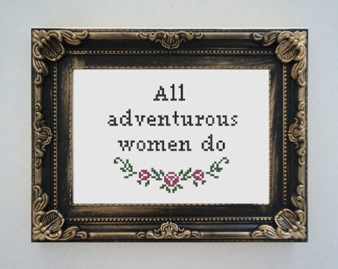 Framed 'All adventurous women do' cross stitch (inspired by HBO Girls)