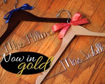 Bridal Hanger, Bride Hanger, Custom Hanger, Mrs Hanger, Personalized Hanger, Walnut Hanger, Bridesmaid Gift