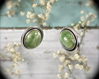 Opal after Serpentine gemstone sterling silver earrings