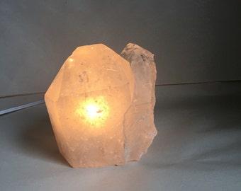 Brazilian Clear Quartz crystal point accent lamp Quartz  desk lamp portable natural quartz point electric light