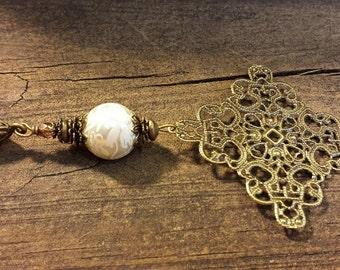 Boho Necklace, Metal Necklace, Pendant Necklace, Victorian Necklace, Filigree Necklace