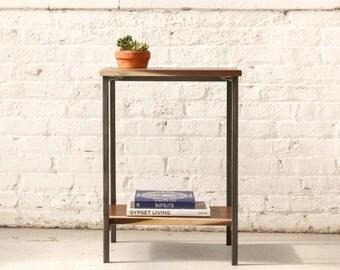 The Marshal Nightstand - Walnut with Waxed Steel - Walnut, Oak, Maple Solid Wood.. Bedside table