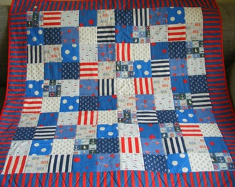 Bright and breezy child's quilt, nautical, seaside theme, cotton/ polycotton, 105x105cm, patchwork, handmade, lovely gift, red, white, blue
