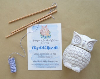 Owl Baby Shower Invitation - Watercolor Baby Shower Invitation - Owl Baby Shower Invite - Baby Shower Invitation