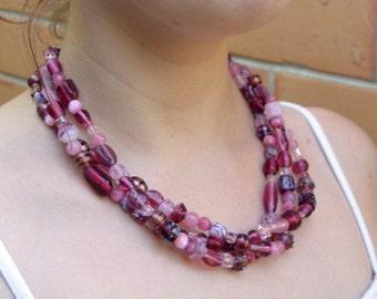 3 Strand Pink Glass Statement necklace