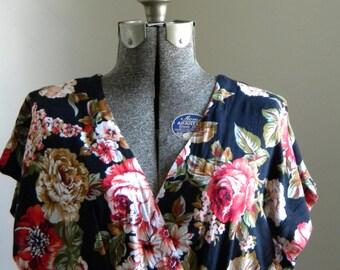 SALE Vintage Women's Black Floral Dress/ Summer Maxi Dress/ Floral Sun Dress/ V-neck long dress/ 80's boho dress