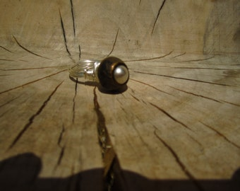 Vintage Pearl Button Ring