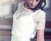 Lace wedding top separate, short sleeve bridal cover up, lace bridal top, bridal separates