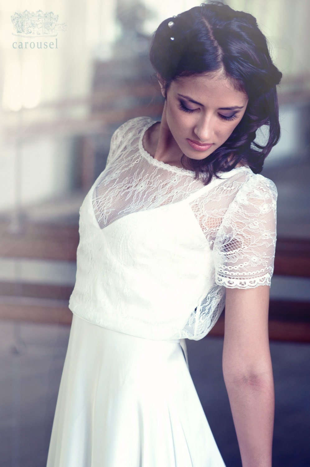 White lace apron wedding - Lace Wedding Top Separate Short Sleeve Bridal Cover Up Lace Bridal Top Bridal Separates