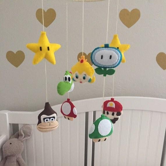 Felt super mario and princess peach theme baby mobile for Princess crib mobile