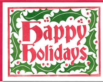 Happy Holidays - Letterpress Printed Holiday or Christmas Card
