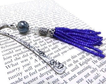 SALE! Blue Beaded Bookmark, Beaded Tassel Bookmark, Silver Bookmark, Blue Bookmark, Metal Bookmark,Student Gift, Teachers Gift, Booklovers