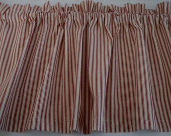 Valance in Red and Cream Ticking 42 X 14 Custom Made Prim Country Shabby Chic or French Country Decor