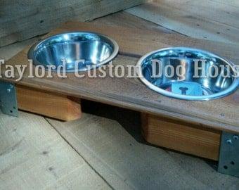 Small reclaimed dog bowl set