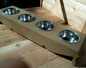 4 bowl elevated pet/dog/cat food/water feeder