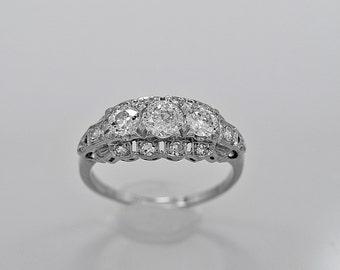 Antique 3 Stone Ring .45ct Diamond & Platinum Art Deco - J34662