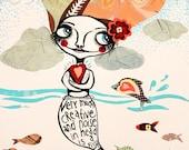 "Giclee print of ""The creative fish"", size: 19 cm x 27 cm. Drawing by Susann Brox Nilsen. Zodiac, mermaid, best friend, for her, cartoon."