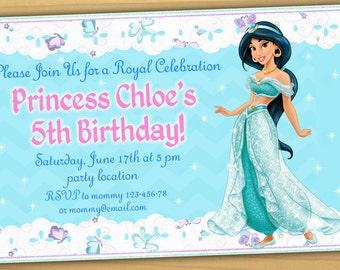 Princess Jasmine Birthday Invitation, Jasmine Birthday Invitation, Disney princess birthday invitation - Digital