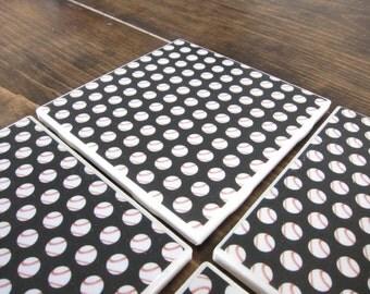Set of 4 Baseball Tile Coasters