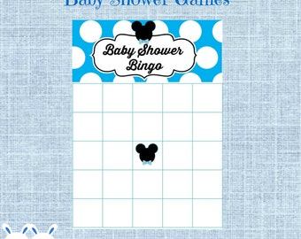 Mickey Mouse Baby Shower Bingo Blank Cards - Mickey Mouse Bingo Gift Baby Shower- Printable Disney Baby Shower Game- Instant Download
