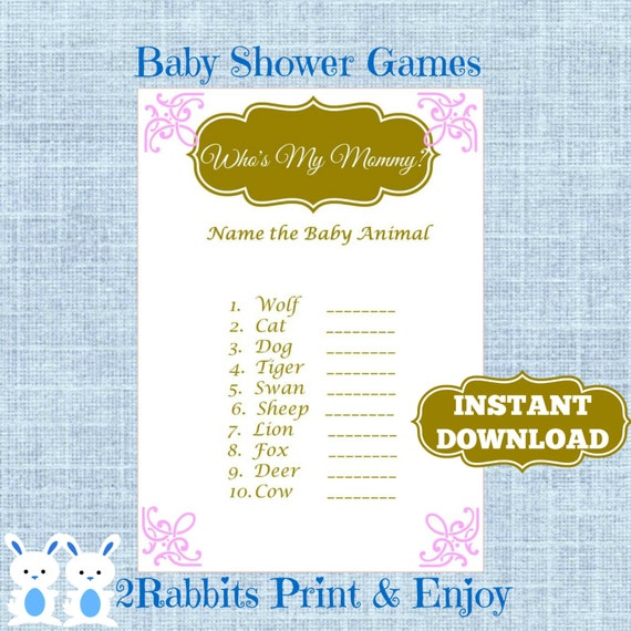 princess baby shower baby animal game plus key answer pink and gold