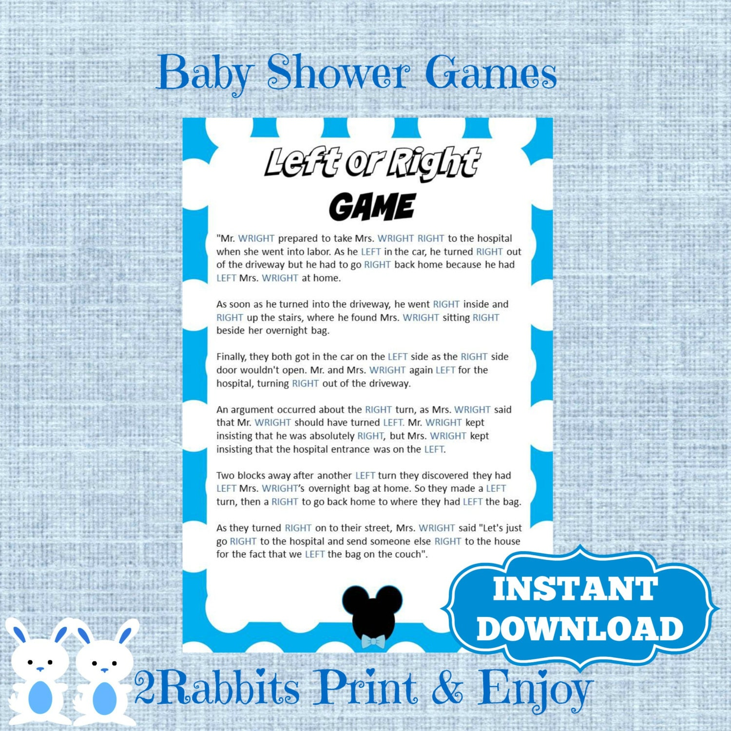 mickey mouse left or right baby shower game instant download